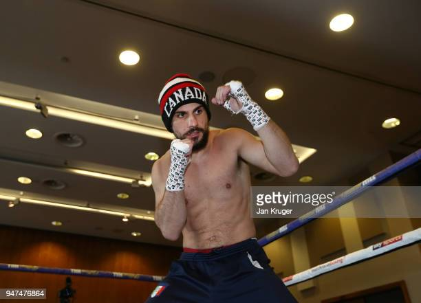 Phil Lo Greco of Canada shadow boxes in the ring during a Meida Work Out and Press Conference at the Hilton Hotel on April 17 2018 in Liverpool...