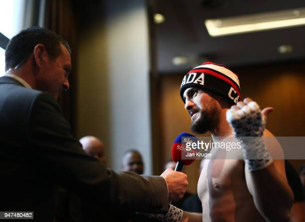 Phil Lo Greco of Canada speaks to Television Reporters after a Meida Work Out at the Hilton Hotel on April 17 2018 in Liverpool England