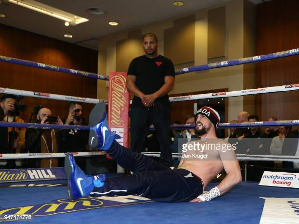 Phil Lo Greco of Canada stretches in the ring during a Meida Work Out and Press Conference at the Hilton Hotel on April 17 2018 in Liverpool England