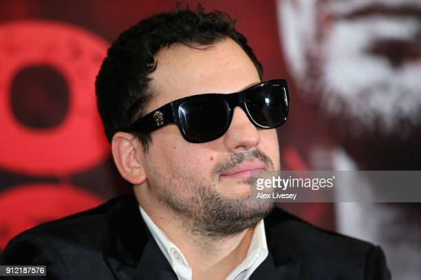 Phil Lo Greco speaks during an Amir Khan and Phil Lo Greco press conference at the Hilton Hotel on January 30 2018 in Liverpool England