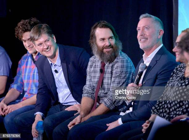 Phil Lord Bill Lawrence Will Forte and Michael McDonald speak onstage during the 'Clone High Reunion' panel part of Vulture Festival LA presented by...