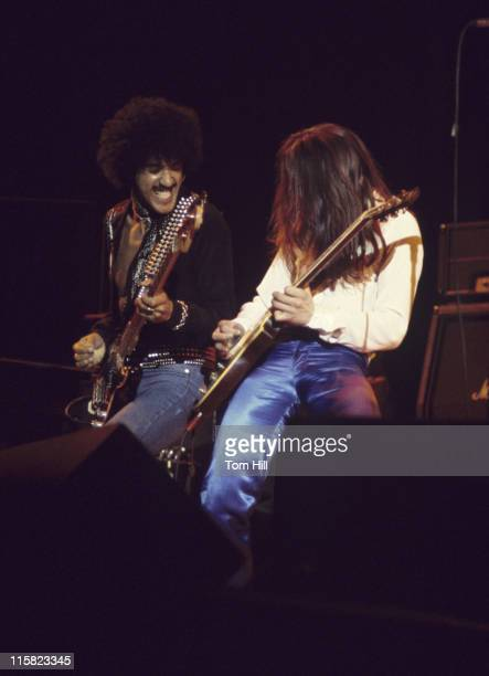 Phil Lynott and Gary Moore of Thin Lizzy during Thin Lizzy Plays the Omni Coliseum February 21 1977 at Omni Coliseum in Atlanta Georgia United States