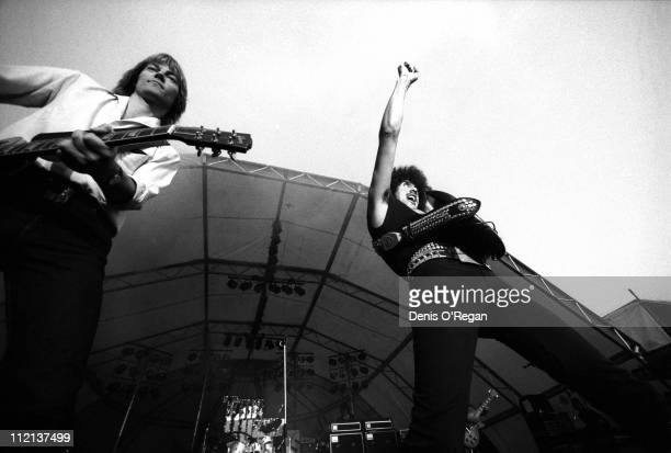 Phil Lynott and Snowy White of Thin Lizzy live at Slane Castle April 1981