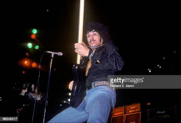 Phil Lynott from Thin Lizzy performs live on stage at the Palladium in New York on October 22 1977
