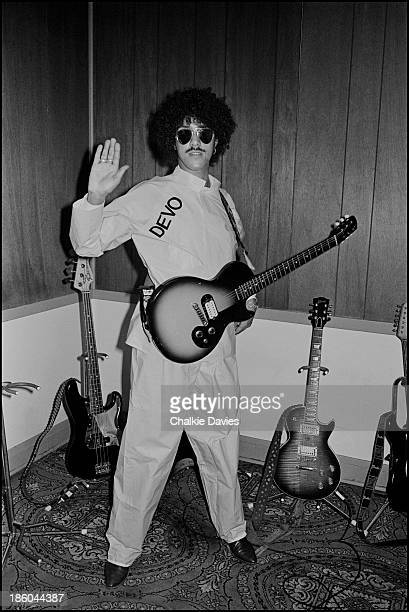 Phil Lynott from Thin Lizzy wears a DEVO suit in Australia in 1978