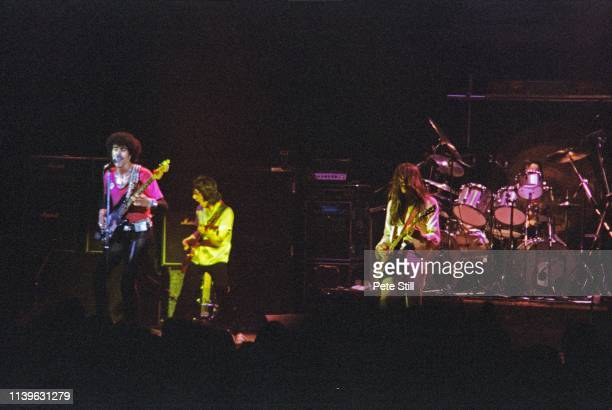 Phil Lynott Gary Moore Scott Gorham and Brian Downey of Thin Lizzy perform on stage at Hammersmith Odeon on April 27th 1979 in London United Kingdom