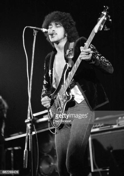Phil Lynott of Thin Lizzy performing on stage at Rainbow Theatre London 11 November 1974