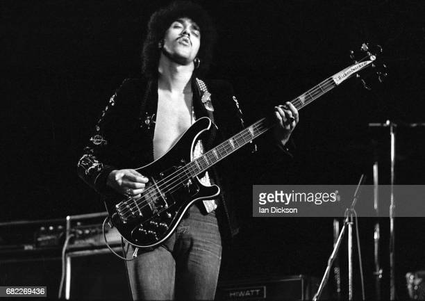 Phil Lynott of Thin Lizzy performing on stage at Rainbow Theatre London 11 November 1974 He is playing a Rickenbacker 4001 bass guitar