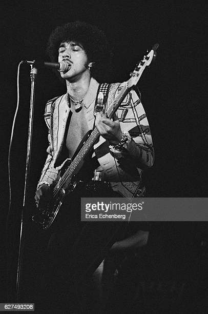Phil Lynott of Thin Lizzy performs on stage at Olympia London United Kingdom 1976
