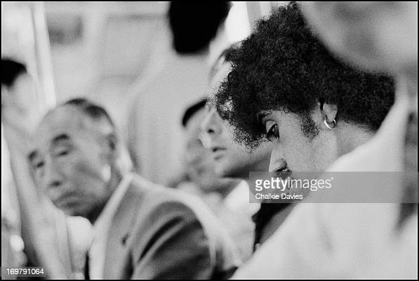 Phil Lynott of Thin Lizzy rides on the subway in Tokyo during the band's Japanese Tour September 1979