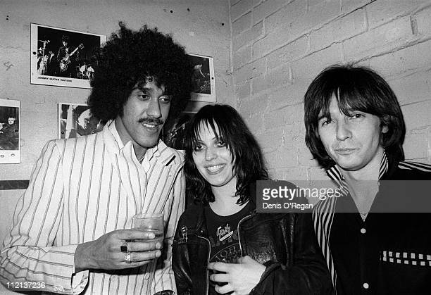Phil Lynott of Thin Lizzy with Gaye Advert and Midge Ure at the Rock Garden 1977