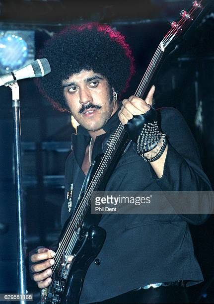 Phil Lynott performs on stage with Grand Slam at Marquee Club London 1984