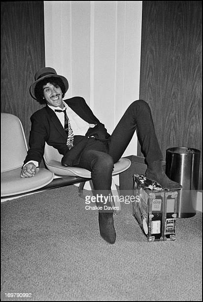 Phil Lynott waits for a plane at Cleveland Airport Ohio during the 1979 Thin Lizzy US Tour