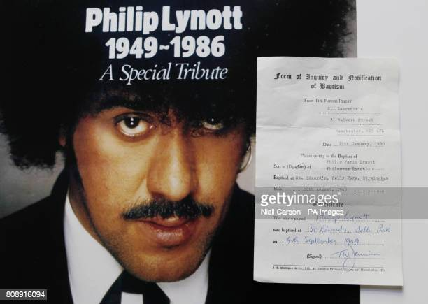Phil Lynott's Baptism certificate which forms part of a new Exhibition on the life and times of the Thin Lizzy star organised by Hot Press Magazine...