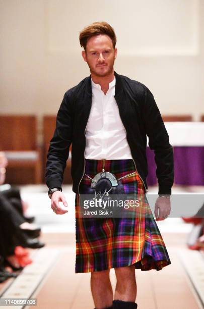Phil Machugh walks the runway during the Dressed To Kilt celebrity fashion show and cocktail party on April 05 2019 at Church of the Holy Apostles in...
