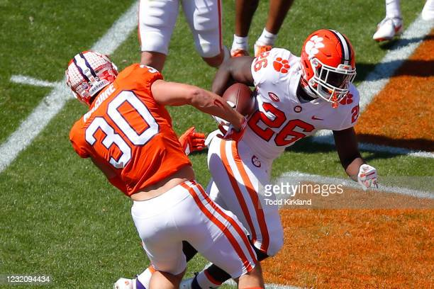 Phil Maffa of the Clemson Tigers scores a touchdown during the second half of the Clemson Orange and White Spring Game at Memorial Stadium on April...