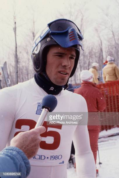 Phil Mahre competing in the Men's downhill skiing event at the 1980 Winter Olympics / XIII Olympic Winter Games Olympic Center