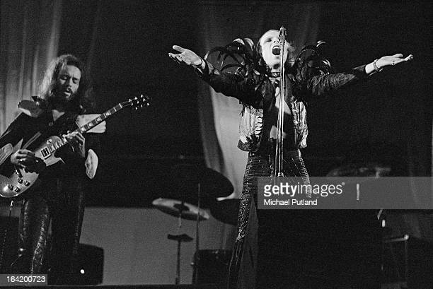 Phil Manzanera and Brian Eno of British rock group Roxy Music performing on stage 1973