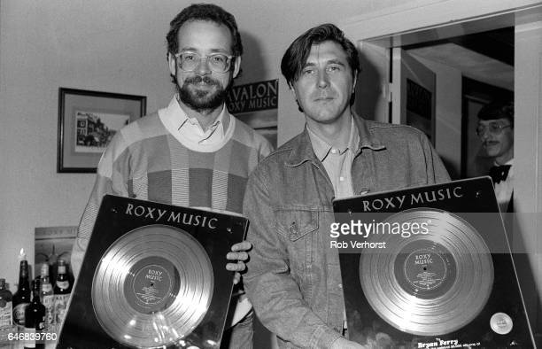 Phil Manzanera and Bryan Ferry of Roxy Music attend an awards party for the band's album 'Avalon' Pulitzer Hotel Amsterdam Netherlands 5th September...