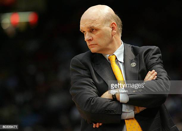 Phil Martelli of the Saint Joseph's Hawks watches his team during the first round game against Oklahoma of the East Regional as part of the 2008 NCAA...