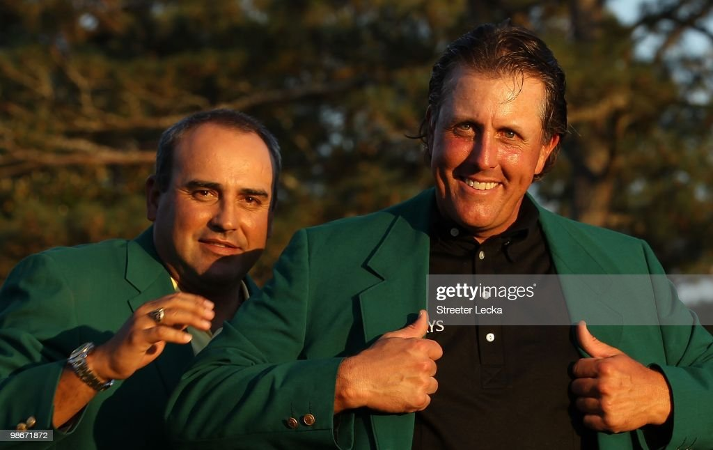Phil Mickelson and Angel Cabrera during the final round of the 2010 Masters Tournament at Augusta National Golf Club on April 11, 2010 in Augusta, Georgia.