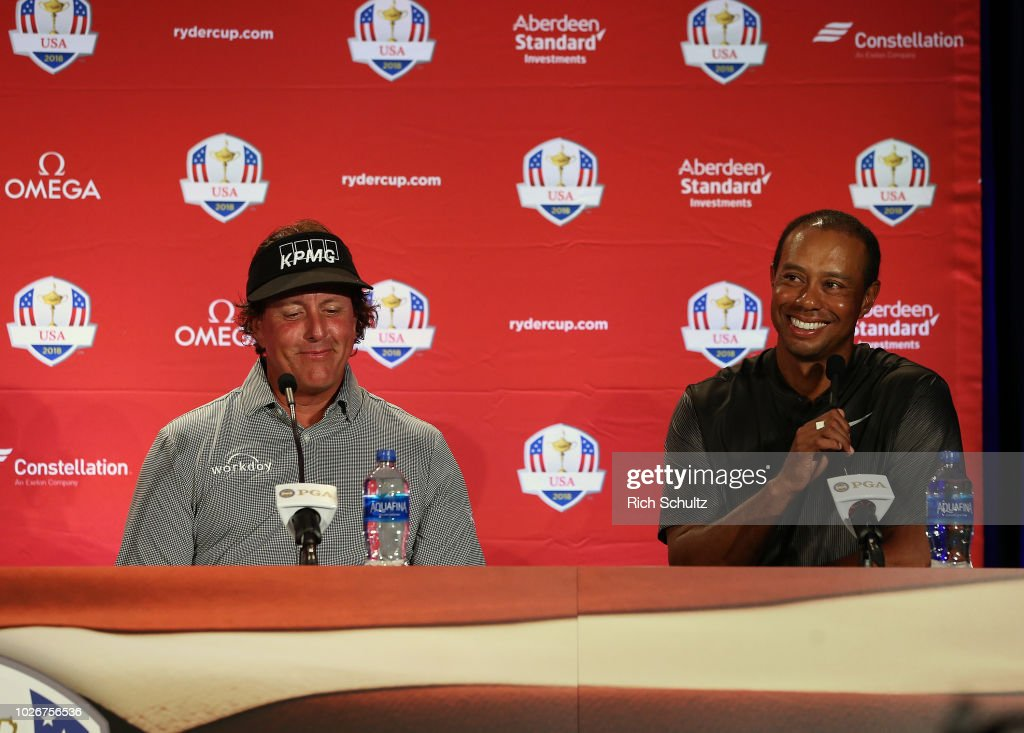 Phil Mickelson and Tiger Woods along with Bryson DeChambeau after being chosen by U.S. Ryder Cup Team Captain Jim Furyk, as his Captains Picks for the 2018 team during a press conference at the Philadelphia Marriott West on September 4, 2018 in West Conshohocken, Pennsylvania.