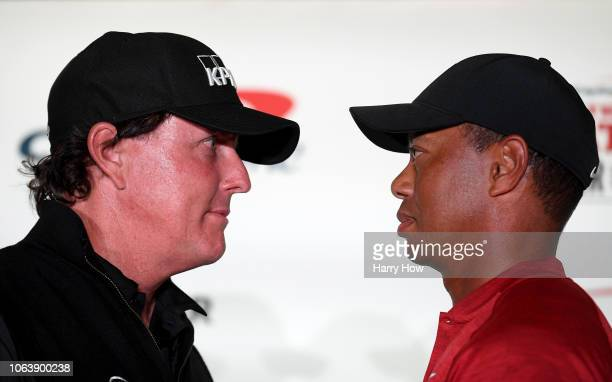 Phil Mickelson and Tiger Woods faceoff during a press conference before The Match at Shadow Creek Golf Course on November 20 2018 in Las Vegas Nevada