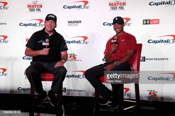 Phil Mickelson and Tiger Woods speak with the media during a press conference before The Match at Shadow Creek Golf Course on November 20 2018 in Las...
