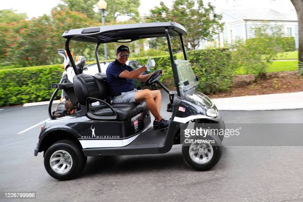 Phil Mickelson arrives for The Match Champions For Charity at Medalist Golf Club on May 24 2020 in Hobe Sound Florida