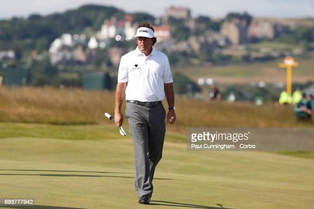 Phil Mickelson at the 5th green during a practice round of The Open Championship 2013 at Muirfield Golf Club on July 16, 2013 in Scotland.