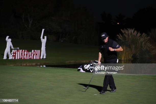 Phil Mickelson celebrates after defeating Tiger Woods during The Match Tiger vs Phil at Shadow Creek Golf Course on November 23 2018 in Las Vegas...