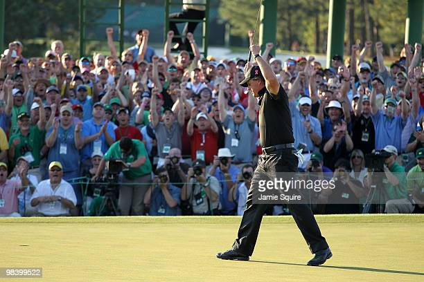 Phil Mickelson celebrates his threestroke victory after winning the 2010 Masters Tournament at Augusta National Golf Club on April 11 2010 in Augusta...