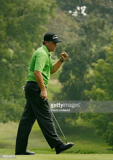 Phil Mickelson celebrates making birdie on the third hole during the third round of The Barclays the inaugural event of the new PGA TOUR Playoffs for...