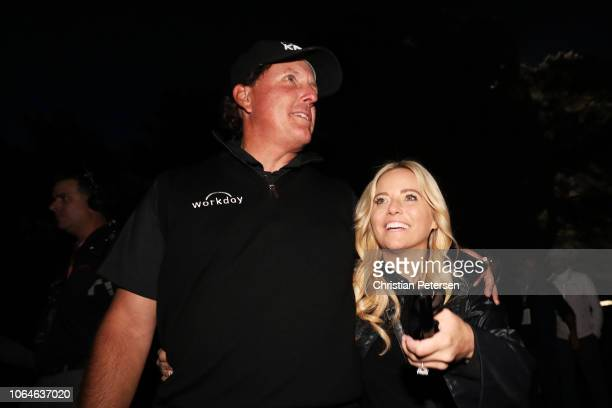 Phil Mickelson celebrates with his wife Amy after defeating Tiger Woods during The Match Tiger vs Phil at Shadow Creek Golf Course on November 23...