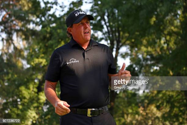 Phil Mickelson gives a thumb up to fans on the 17th tee during the final round of World Golf ChampionshipsMexico Championship at Club De Golf...