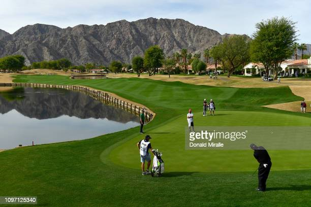 Phil Mickelson hits a chip shot on the 5th green during the final round of the Desert Classic at the Stadium Course on January 20, 2019 in La Quinta,...
