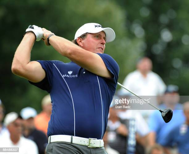 Phil Mickelson hits a drive during the final round of the St. Jude Classic at TPC Southwind on June 14, 2009 in Memphis, Tennessee.