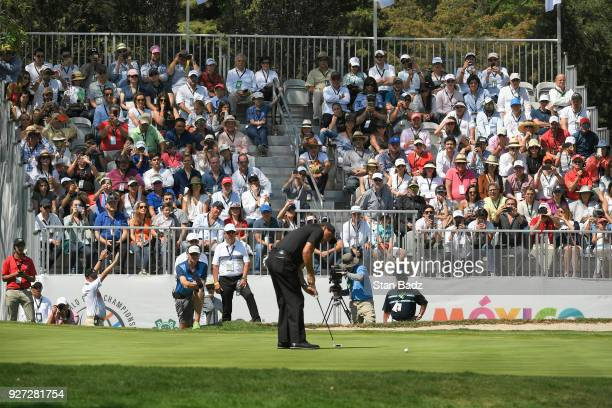 Phil Mickelson hits a putt on the seventh hole during the final round of the World Golf Championships-Mexico Championship at Club de Golf Chapultepec...