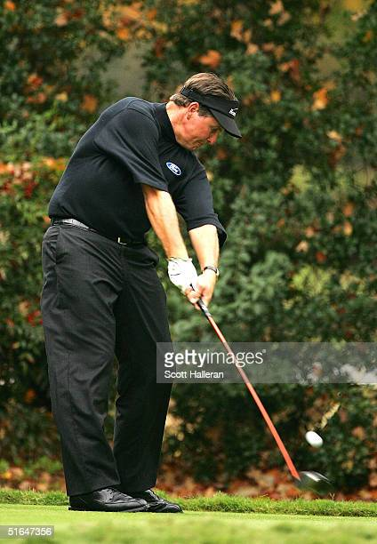 Phil Mickelson hits a shot during the Pro-Am at the PGA Tour Championship at East Lake Golf Club on October 31, 2004 in Atlanta, Georgia