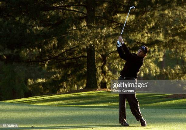 Phil Mickelson hits a shot on the 17th hole during the final round of The Masters at the Augusta National Golf Club on April 9, 2006 in Augusta,...