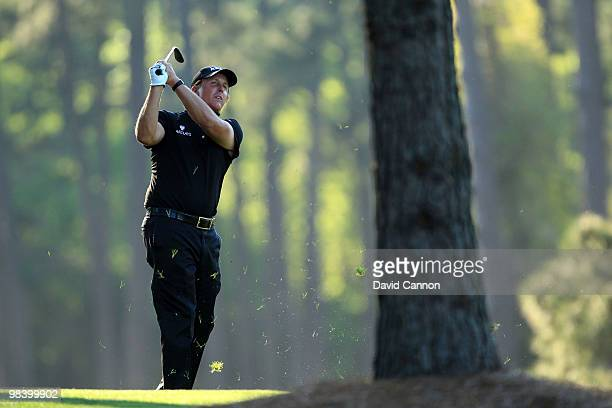 Phil Mickelson hits a shot on the 17th hole during the final round of the 2010 Masters Tournament at Augusta National Golf Club on April 11 2010 in...