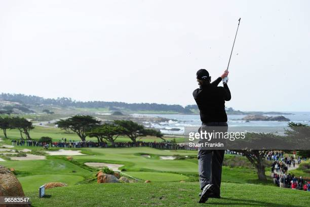 Phil Mickelson hits a tee shot on during round one of the ATT Pebble Beach National ProAm at Monterey Peninsula Country Club Shore Course on February...