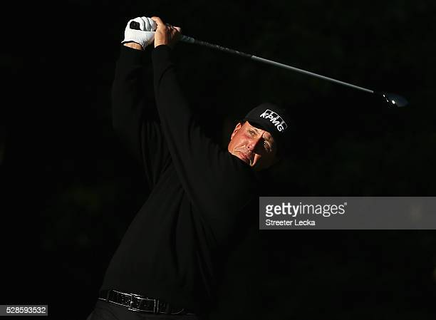 Phil Mickelson hits a tee shot on the 12th hole during the second round of the 2016 Wells Fargo Championship at Quail Hollow Club on May 6, 2016 in...