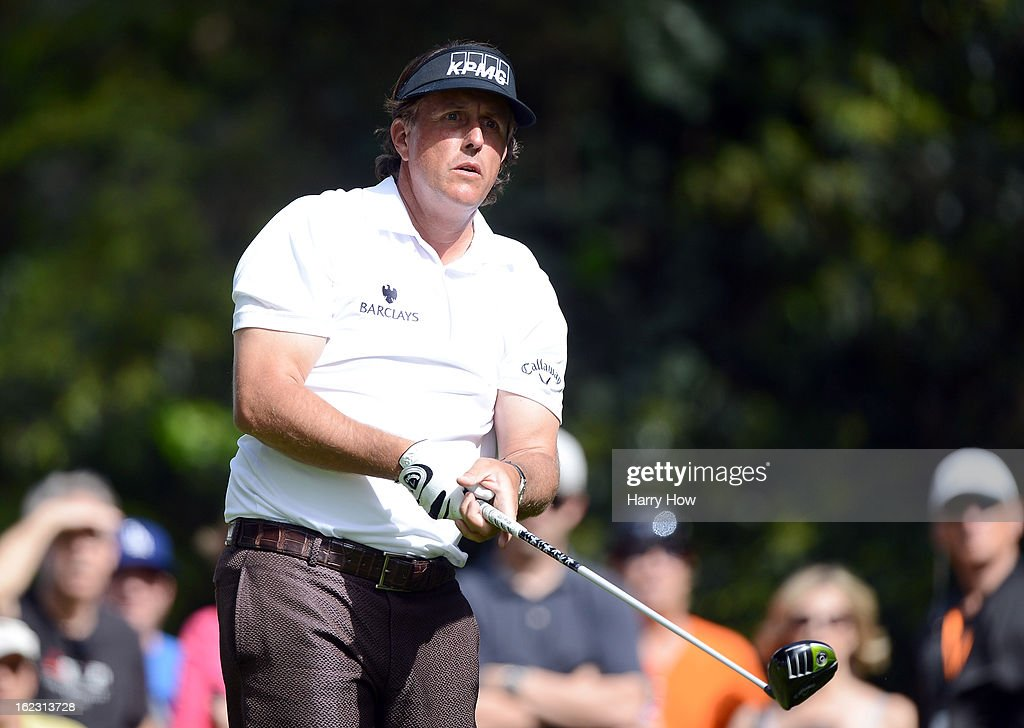 Phil Mickelson hits a tee shot on the 12th hole during the third round of the Northern Trust Open at the Riviera Country Club on February 16, 2013 in Pacific Palisades, California.
