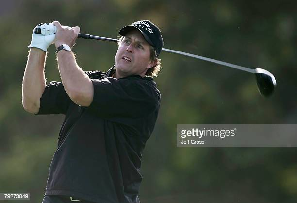 Phil Mickelson hits a tee shot on the 14th hole during the third round of the Buick Invitational at the Torrey Pines Golf Course January 26, 2008 in...