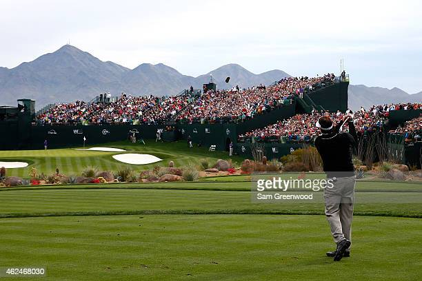 Phil Mickelson hits a tee shot on the 16th hole during the first round of the Waste Management Phoenix Open at TPC Scottsdale on January 29, 2015 in...