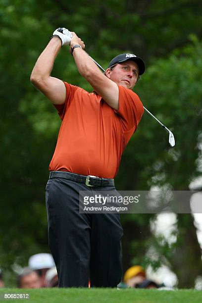 Phil Mickelson hits a tee shot on the fourth hole during the third round of the 2008 Masters Tournament at Augusta National Golf Club on April 12,...
