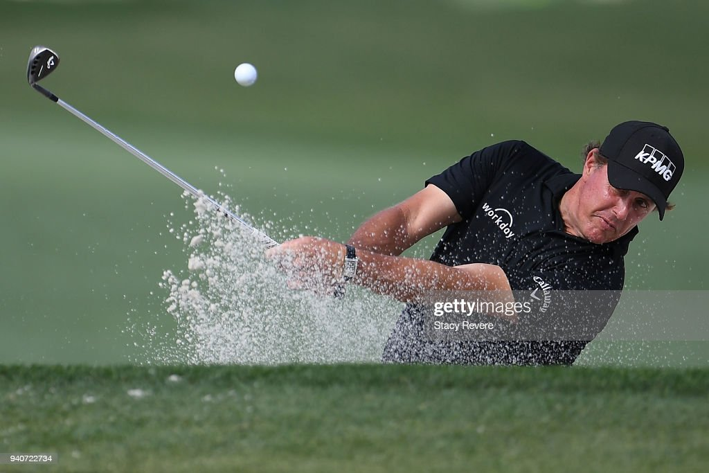 Phil Mickelson hits from a green side bunker on the eighth hole during the final round of the Houston Open at the Golf Club of Houston on April 1, 2018 in Humble, Texas.