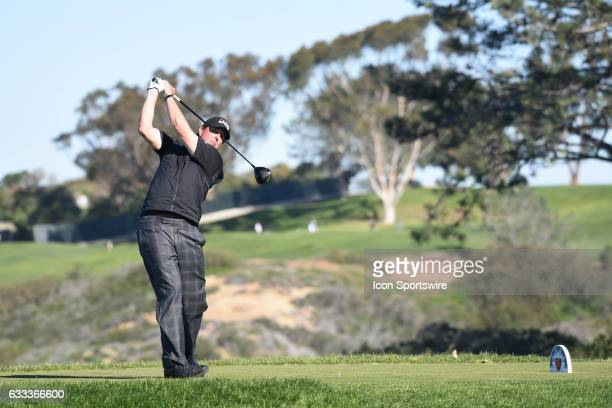 Phil Mickelson hits from the fifth hole tee on the South Course during the final round of the Farmers Insurance Open golf tournament at Torrey Pines...