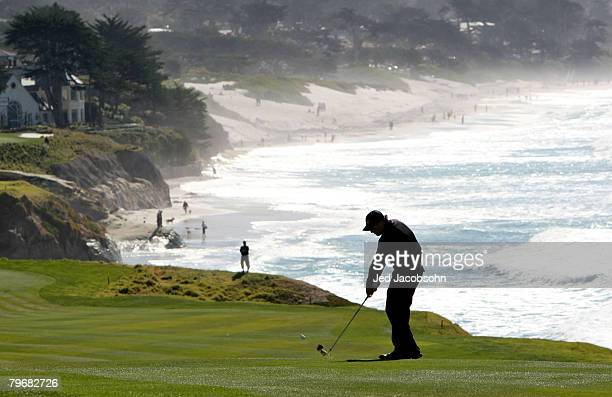 Phil Mickelson hits from the ninth fairway during the third round of the ATT Pebble Beach National ProAm at Pebble Beach Golf Links February 9 2008...